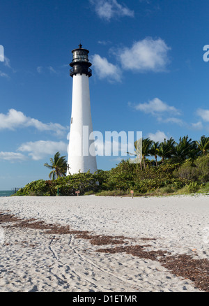 Cape Florida Lighthouse and Lantern in Bill Baggs State Park in Key Biscayne, Florida, USA - Stock Photo
