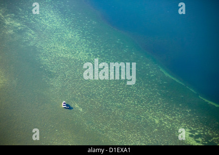Motor boat on Lake Constance, aerial photo - Stock Photo
