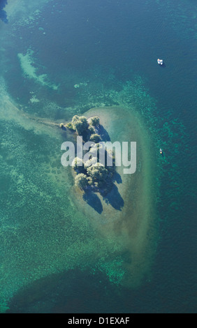 Small overgrown island in Lake Constance, aerial photo - Stock Photo