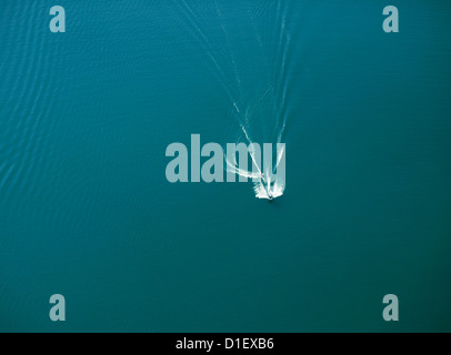 Motor boat and water skier on Lake Constance, aerial photo - Stock Photo