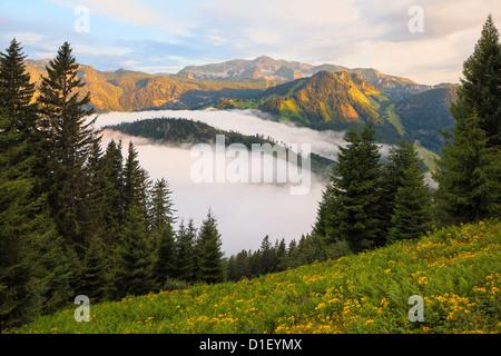 Sunrise above the Pyhrn Pass, Totes Gebirge, Styria, Austria - Stock Photo