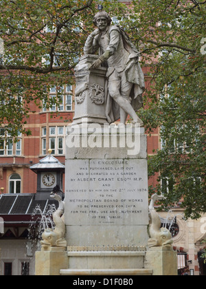 William Shakespeare monument in Leicester Square London UK - Stock Photo