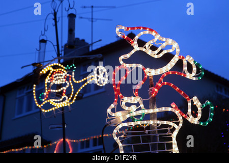 Exterior Christmas lights on UK house in the shape of Santa Claus ...