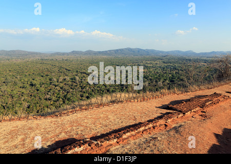 View from the top of Sigiriya Lions Rock ancient rock fortress in Sri Lanka - Stock Photo