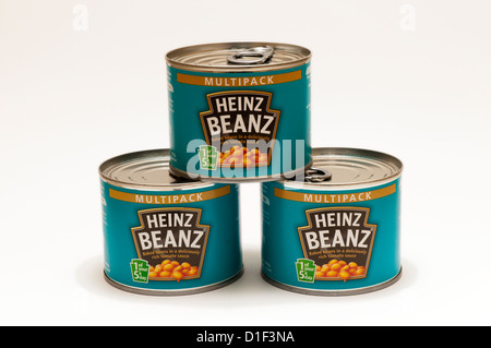 Three tins of multipack Heinz baked beans beanz. - Stock Photo