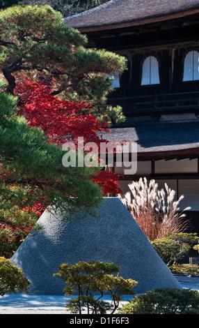 Ginkaku-ji Temple (Jisho-ji or the Silver Pavilion), Kyoto. The white sand cone is the 'Moon Viewing Platform' or - Stock Photo