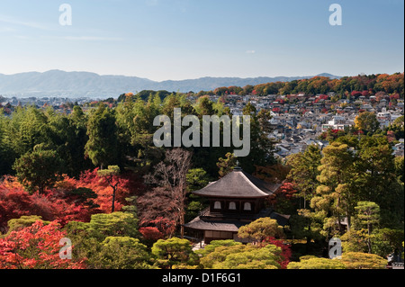Kyoto, Japan. An autumn view over the city from the grounds of Ginkaku-ji Temple (foreground), also known as the - Stock Photo