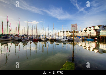 Southampton Waterfront Town Quay yacht marina, Hampshire, England UK with sign saying 'End of Slipway, sudden drop' - Stock Photo