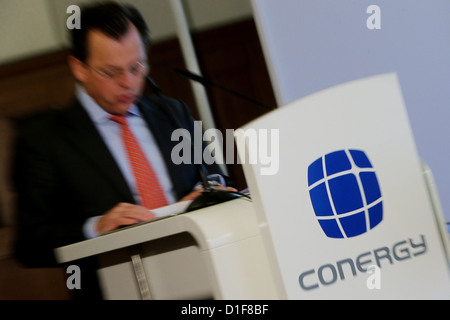 The head of the board of Conergy AG, Philip Comberg, speaks during the extracurricular general assembly of Conergy - Stock Photo