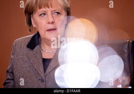 German Chancellor Angela Merkel attends the weekly cabinet meeting at the chancellery in Berlin, Germany, 19 December - Stock Photo