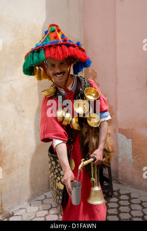 A water seller dressed in traditional colourful Berber dress in Marrakech, Morocco, North Africa, Africa - Stock Photo