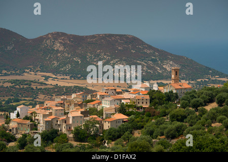 An elevated view of the picturesque village of Aregno in the inland Haute Balagne region, Corsica, France, Mediterranean, - Stock Photo