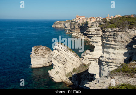 The Haute Ville perched on limestone cliffs in Bonifacio, Corsica, France, Mediterranean, Europe - Stock Photo