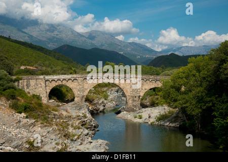The Genoese Bridge, a stone arched bridge over the river Porto near Porto, Corsica, France, Europe - Stock Photo