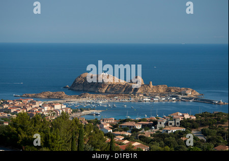 An aerial view of the town of L'Ile Rousse in the Haute-Balagne region of Corsica, France, Mediterranean, Europe - Stock Photo