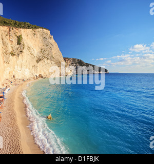 A view of a beach at Lefkada island, Greece, shot with a tilt and shift lens - Stock Photo