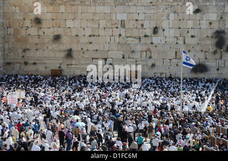 Traditional Cohen's Benediction at the Western Wall during the Passover Jewish festival, Jerusalem Old City, Israel, - Stock Photo