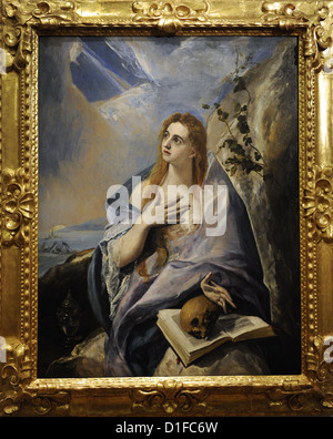 El Greco (1541-1614). Cretan painter. The Penitent Magdalene, 1576-1577. Museum of Fine Arts. Budapest. Hungary. - Stock Photo