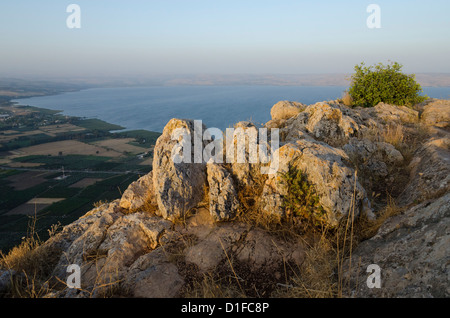 Mount Arbel above the Sea of Galilee, Israel, Middle East - Stock Photo