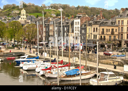 The Vieux Bassin, Old Town and boats moored along the quay, Honfleur, Calvados, Normandy, France, Europe - Stock Photo