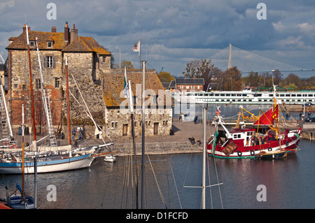 Tthe Vieux Bassin with the Lieutenance dating from the 17th century, and boats, Honfleur, Calvados, Normandy, France, - Stock Photo