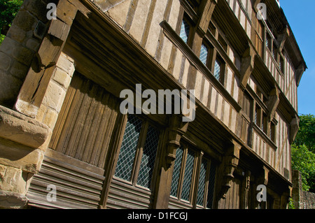 Facade detail of the Governor's house, a 15th century mansion, Old Town, Dinan, Cotes d'Armor, Brittany, France - Stock Photo