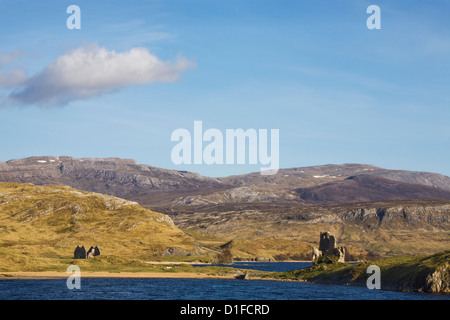 Castle Ardvreck, Loch Assynt, near Lochinver, Sutherland, Highlands, Scotland, United Kingdom, Europe - Stock Photo
