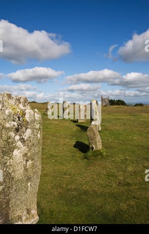 The Hurlers (stone circle), Minions, Bodmin Moor, Cornwall, England, United Kingdom, Europe - Stock Photo