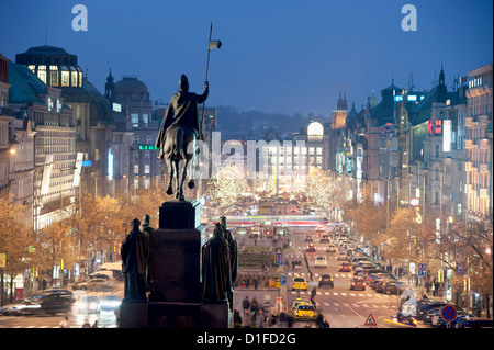 Statue of St. Wenceslas and Wenceslas Square at twilight, Nove Mesto, Prague, Czech Republic, Europe - Stock Photo