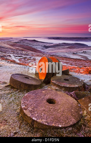 Stanage edge wheelstones and moorland on a frosty dawn morning near Hathersage Derbyshire Peak District National - Stock Photo
