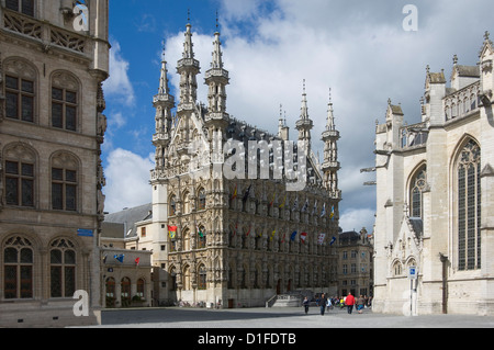The 15th century late Gothic Town Hall in the Grote Markt, Leuven, Belgium, Europe - Stock Photo
