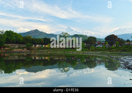 Annapurna Himal, Machapuchare and Phewa Tal seen from Pokhara, Gandaki Zone, Western Region, Nepal, Himalayas, Asia - Stock Photo