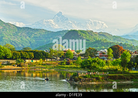 Annapurna Himal, Machapuchare and Phewa Tal seen from Pokhara, Gandaki Zone, Western Region, Nepal, Himalayas, Asia - Stock Photo