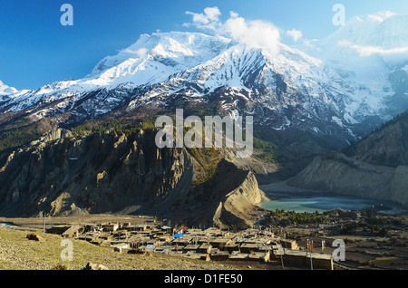 Manang village and Annapurna Himalayan Range, Annapurna Conservation Area, Gandaki, Pashchimanchal, Nepal - Stock Photo