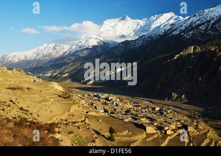 Manang village and Annapurna Himalayan Range, Annapurna Conservation Area, Gandaki, Pashchimanchal, Nepal - Stock Photo