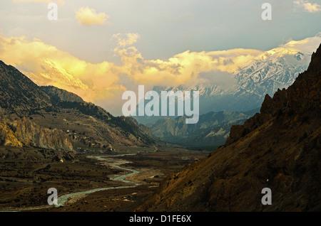 Marsyangdi River Valley and Annapurna Himalayan Range, Annapurna Conservation Area, Gandaki, Western Region, Nepal - Stock Photo