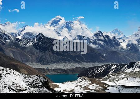 View from Renjo Pass of Mount Everest, Everest Himalayan Range and Gokyo Lake, Sagarmatha National Park, Purwanchal, - Stock Photo