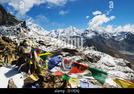 View from Renjo Pass of Everest Himalayan Range, Sagarmatha National Park, Solukhumbu District, Purwanchal, Nepal - Stock Photo