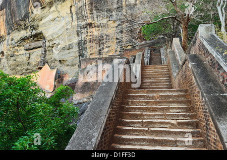 Stairs leading to top of Sigiriya (Lion Rock), UNESCO World Heritage Site, Sri Lanka, Asia - Stock Photo