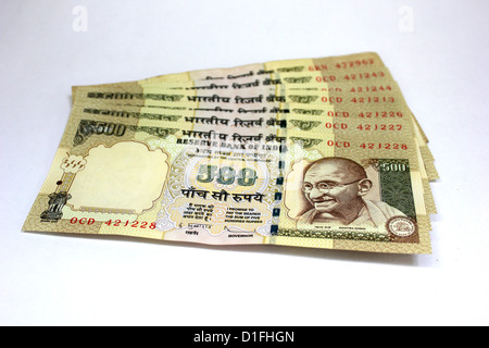 Indian currency A set of five hundred rupee notes in white background 500 - Stock Photo