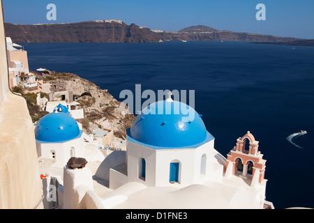 Church Domes On Santorini - Stock Photo