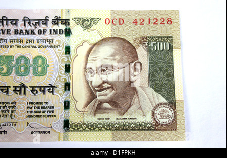 Indian currency A five hundred rupee note with picture of Gandhi in white background 500 - Stock Photo
