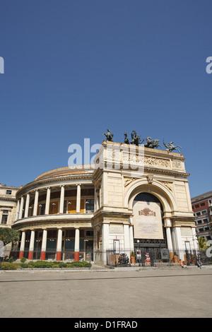 Teatro Politeama, Palermo, Sicily, Italy - Stock Photo