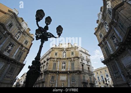 The Four Corners (Quattro Canti), Piazza Vigliena, Palermo, Italy - Stock Photo