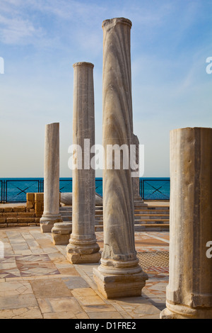 Roman columns in the public baths of Caesarea, Israel - Stock Photo