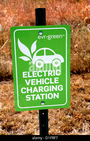 Electric vehicle charging station sign at the Great River Energy cooperative headquarters. Maple Grove Minnesota - Stock Photo