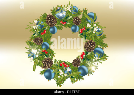Decorated Christmas wreath with baubles, mistletoe, holly and pine cones - Stock Photo