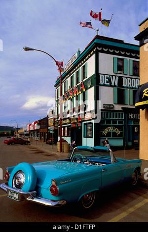 1956 Ford Thunderbird Convertible Classic Vintage Car parked outside Alaska Hotel, Dawson Creek, BC, British Columbia, - Stock Photo