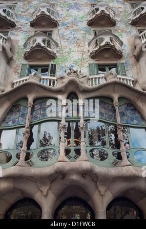 Facade of Casa Batllo by Gaudi, Passeig de Gracia, Barcelona, Catalunya (Catalonia) (Cataluna), Spain, Europe - Stock Photo