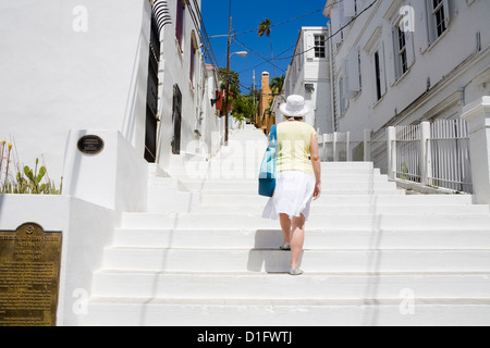 Steps to historic Kongens Quarter in Charlotte Amalie, St. Thomas Island, U.S. Virgin Islands, West Indies, Caribbean - Stock Photo